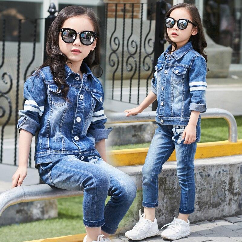 Autumn Spring School Girls Denim Clothing Set Jean Jacket+Denim Pants Jeans 2pcs Children Suit Kids