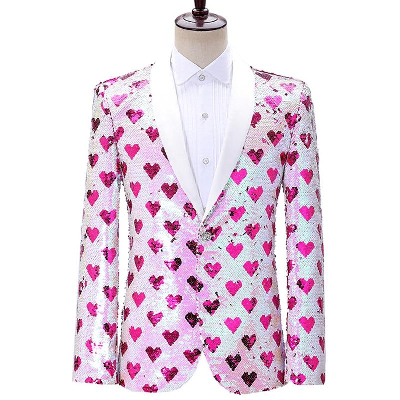 Heart Print Blazer Jacket Men Stage Party Mens Suit Jackets Dress Luxury Performance Mens Blazer Wedding Singer Costume Homme