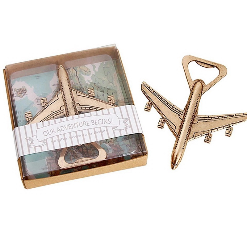 """Let the Adventure Begin"" Antique Gold Airplane Wine Bottle Opener Destination Wedding Favors Aircraft Beer Cap Openers  10PCS-in Party Favors from Home & Garden    1"