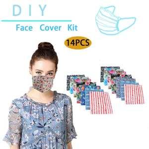 Mask-Kit Homemade-Mask Make-Face-Mask-Mouth-Masks Nose Non-Woven-Material DIY 14pcs Bridge-Clips