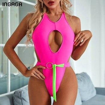 цена на INGAGA 2020 One Piece Swimsuit Extreme High Cut Swimwear Women Open Back Bathing Suit Sexy Halter Bodysuit Cut Out Monokini