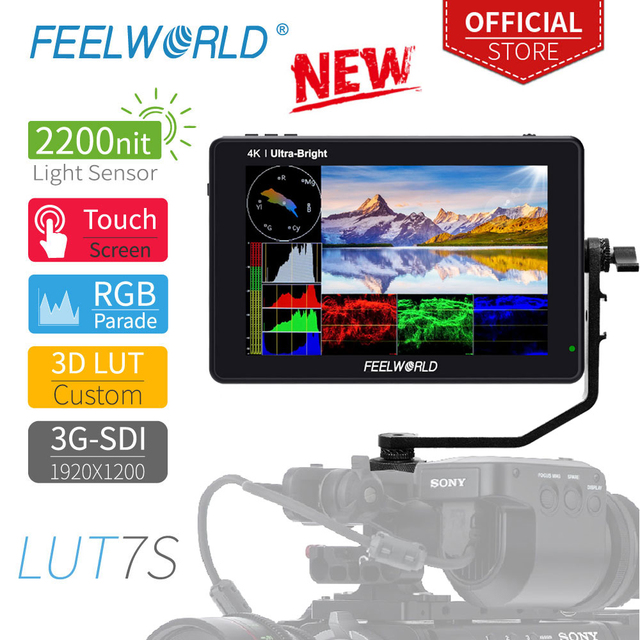 FEELWORLD LUT7S 7 Inch 3G SDI 4KHDMI 2200nits 3D LUT Touch Screen DSLR Camera Field Monitor with Waveform VectorScope Histogram