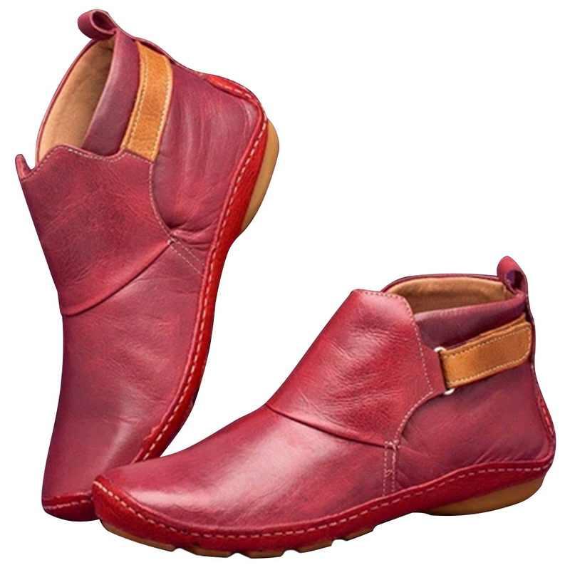 2020 yeni sonbahar ayakkabı kadın çizmeler yumuşak rahat PU deri çizmeler kadın ayak bileği kış çizmeler rahat patik