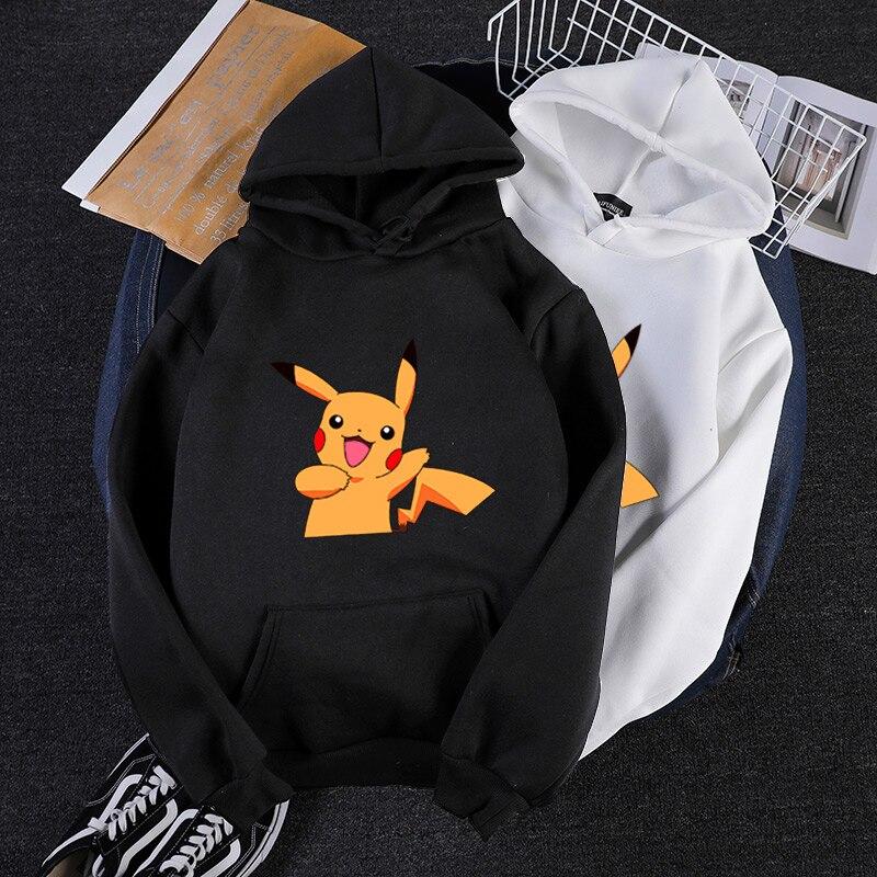 Autumn winter kawaii cartoon Pikachu print mens hoodies long sleeves plus size loose sweatshirt Pokemon Anime vintage streetwear