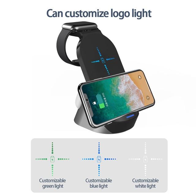 Labobbon suporte do carregador sem fio qi 15w estação doca de carregamento rápido para apple watch iwatch 6 5 4 airpods pro iphione 12 11 xs x 5