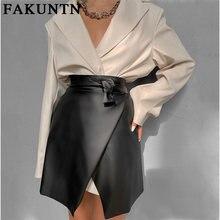 Юбка fakuntn из искусственной кожи Женская мода 2021 Осень зима
