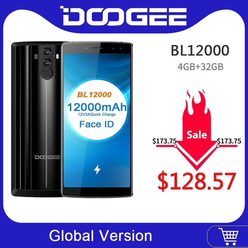 Original DOOGEE BL12000 MTK6750T Octa Core 6.0''18:9 FHD+ 12000mAh 4GB RAM 32GB ROM Quad Camera 16.0MP Android 7.0 Smartphone