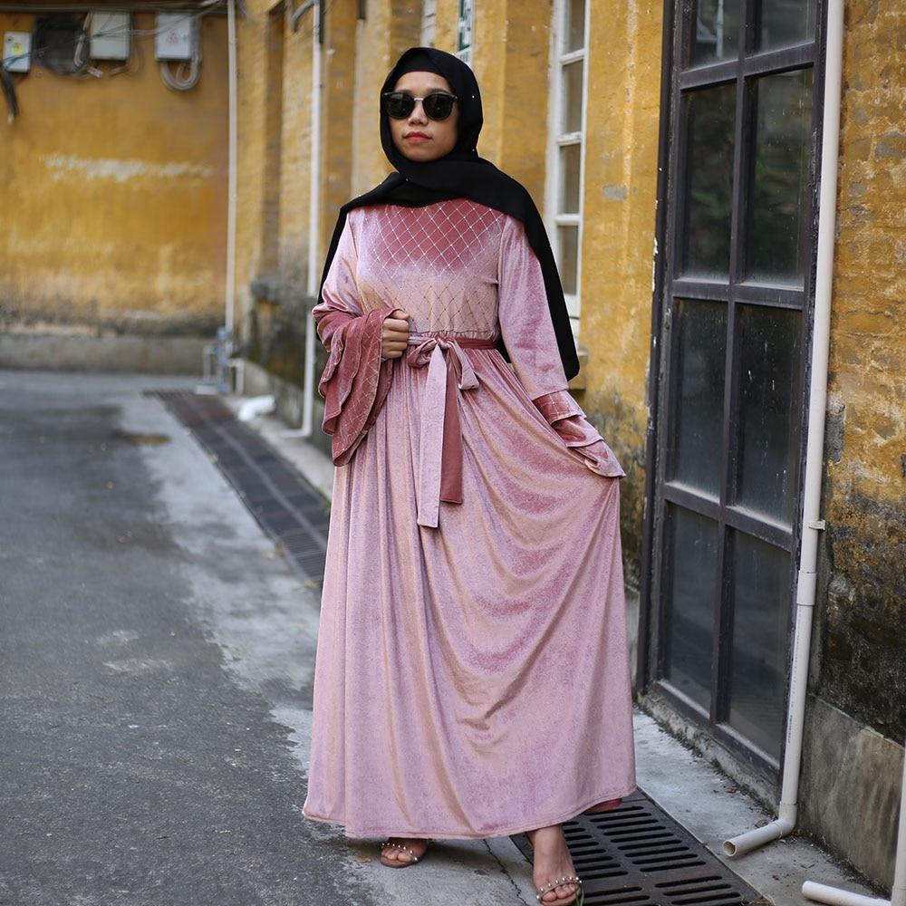 Women Pink Velvet Abaya Kaftan Dubai Hijab Muslim Dress Islamic Clothing Turkish Dresses Abayas Caftan Pakistan Robe Musulman