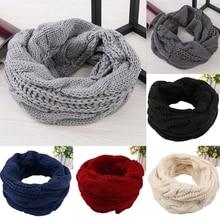 Женский мужской зимний теплый шарф 2 Круг Кабель вязаный хомут шеи длинный шарф шаль