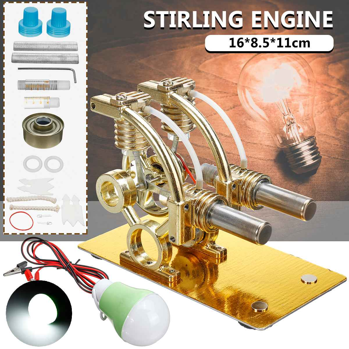 Double-cylinder Micro DIY Stirling Engine External Combustion Engine School Demonstration Early Learning Education Toy For Kid