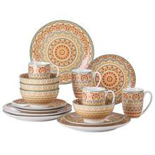 VANCASSO 16/32/48-Piece Yellow Bohemian Mandala Pattern Porcelain Tableware Dinner Set with Dinner Plate,Dessert Plate,Bowl,Mug