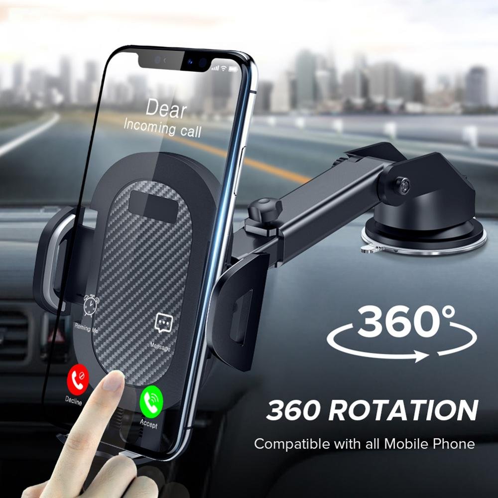 Carbon Fiber Sucker Car Phone Holder 360 Mount In Car Stand No Magnetic Support Mobile Cell Cellphone Smartphone