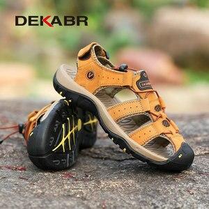Image 3 - DEKABR جلد طبيعي الصنادل لينة في الهواء الطلق حذاء كاجوال الرجال العلامة التجارية الصيف الأحذية الجديدة كبيرة الحجم 38 48 رجل الموضة الصنادل