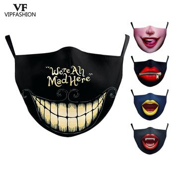 VIP FASHION Reusable Washable Protective Mouth Mask Adult Clown Joker Printed Mask Anti-Dust Anti Flu Bacteria Party Face Mask