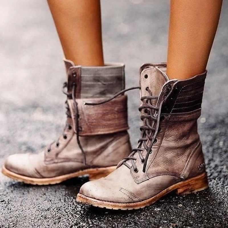 Kadın botları kadın yarım çizmeler PU deri bayan botları kadın kışlık botlar Retro kış ayakkabı kadın Bota kadın patik artı boyutu