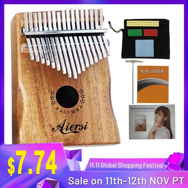 Aiersi Chắc Chắn Koa 17 Phím Tắc Kè Kalimba Ngón Tay Cái Đàn Piano Calimba Âm Nhạc Tặng Với Bài Hát Sách Hướng Dẫn Chỉnh Búa Và Túi