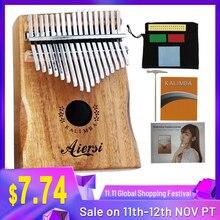 Aiersi Koa מוצק 17 מפתחות Gecko קלימבה אגודל פסנתר Calimba מוסיקלי מתנה עם שיר ספר הדרכה מנגינת פטיש תיק