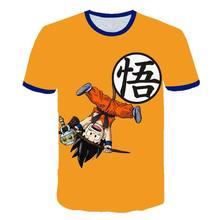 2020 bebê menino roupas dos desenhos animados das crianças goku-dragão-ball-curt verão moda menino e menina camiseta 3d impresso