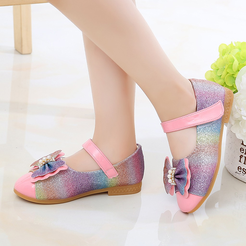 2019 Spring Autumn Girl Shoes Girls Bowknot Bling Single Shoes Baby Girls Anti Slip Shoes Toddler Girl Casual Princess Shoes