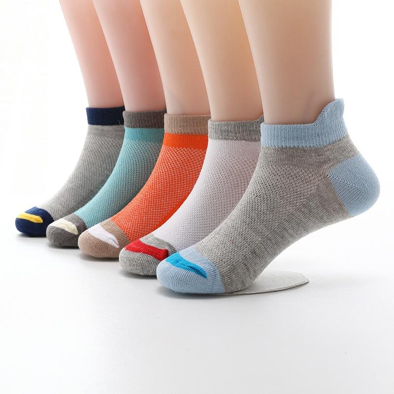 5 Pairs/lot 2020 New Fashion Spring Summer Children Socks Mesh Cotton Boys Socks Girls Socks 2-15 Year Kids Casual Boat Socks