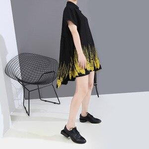 [EAM] Women Black Pattern Printed Big Size Blouse New Lapel Short Sleeve Loose Fit Shirt Fashion Tide Spring Summer 2020 1T743