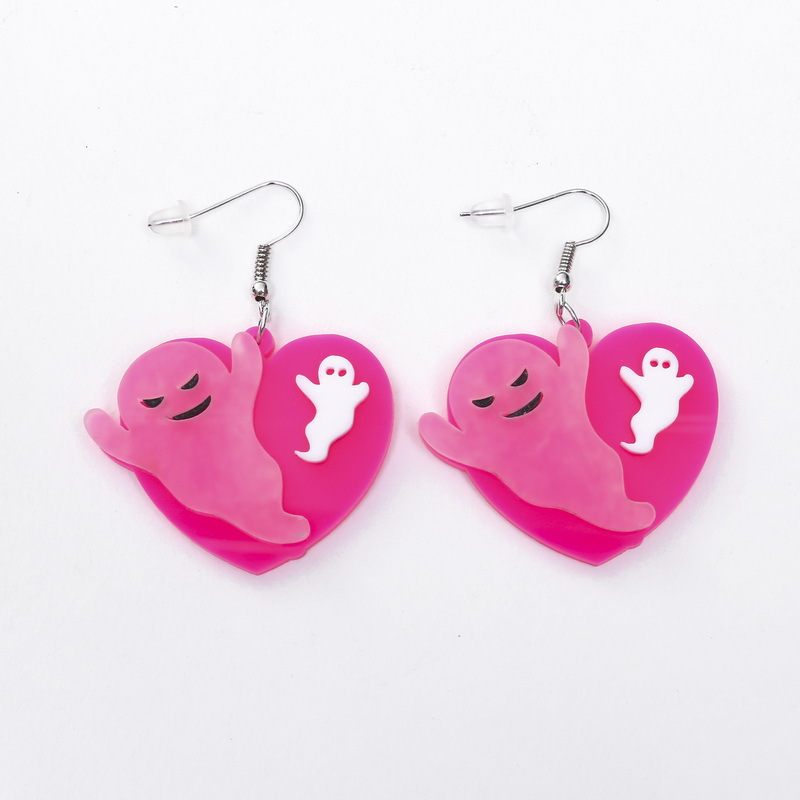 Acrylic Heart Ghost Earrings Women Geometric Dangle Jewelry Personality Halloween Fashion