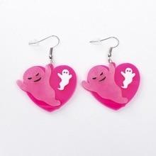 Acrylic Heart Ghost Earrings Women Geometric Dangle Jewelry Personality Halloween Fashion
