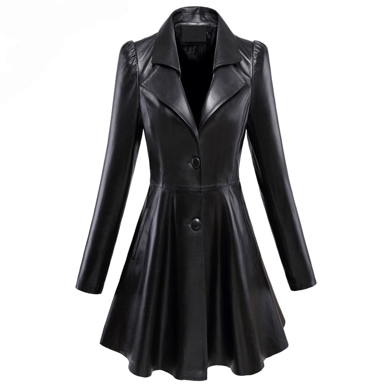 Nerazzurri Fit And Flare Faux Leather Coat Notched Lapel Long Sleeve Puff Sleeve Skirted Black Plus Size Leather Blazer Slim Fit