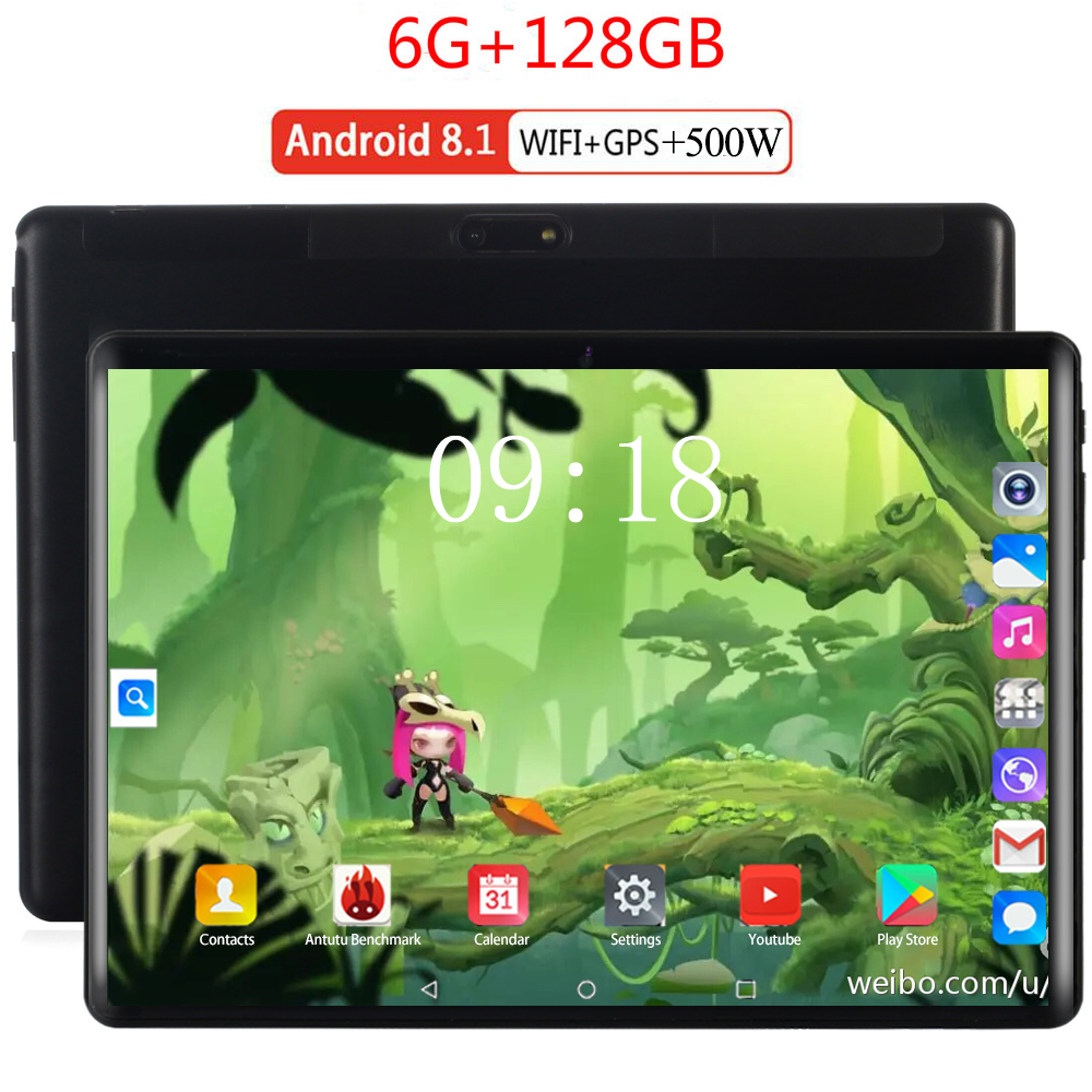 2020 New WiFi Tablet 10 Inch Android 8.0 Octa Core 6GB RAM 128GB ROM Bluetooth IPS Screen Tablet PC 10.1 Support Extend TF Card