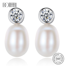 DOTEFFIL New Luxury Brand Earrings Natural Freshwater Pearl Original 925 Silver Pearl Earrings For Women Jewelry Party Gift doteffil new earrings natural freshwater pearl genuine 925 silver zircon pearl earrings for women jewelry engagement gift