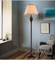 Black Iron Fabric Lampshade Wire Floor Lamps American Retro Floor Lamp110 240V Livingroom Residential Lighting