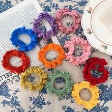 Осенне зимние женские цветные вязаные эластичные резинки для