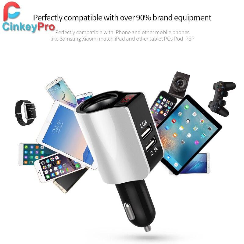 CinkeyPro 2-Port USB Car-Charger untuk iPhone Samsung Car Charger LED - Aksesori dan suku cadang ponsel - Foto 6