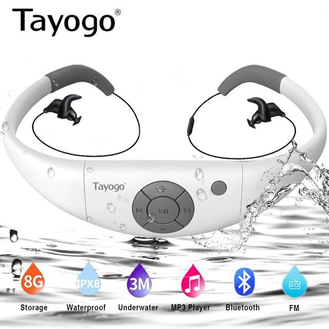 Tayogo W12 zestaw słuchawkowy HIFI do pływania odtwarzacz muzyczny MP3 z radiem FM Bluetooth krokomierz IPX8 wodoodporne słuchawki sportowe odtwarzacz Mp3