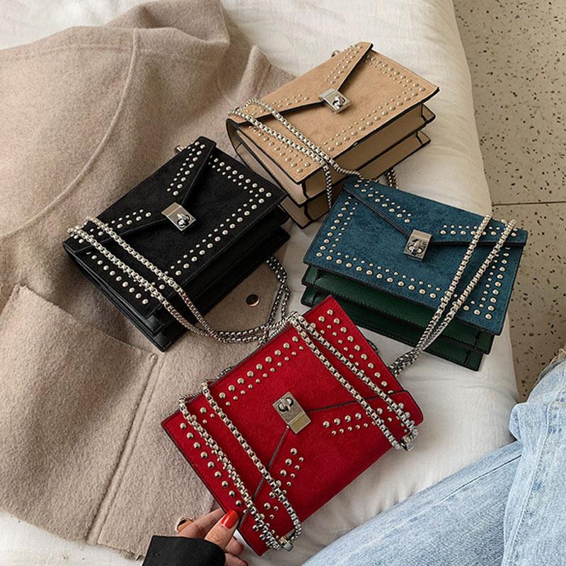 2020 Rivet Shoulder Messenger Bags For Women Elegant Scrub Leather Fashion Chain Lock Crossbody Bag Female Flap Bags Casual
