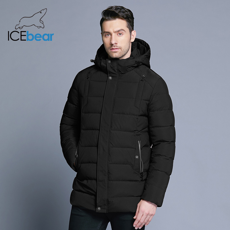 ICEbear 2019 New Men's Winter  Jacket Warm Detachable Hat Male Short Coat Fashion Casual Apparel Man Brand Clothing MWD18813D