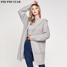 Phi Star Brand Women Hooded Knitting Cardigan Coat Sweater Long Sleeve Loose Knitted Outwear femme