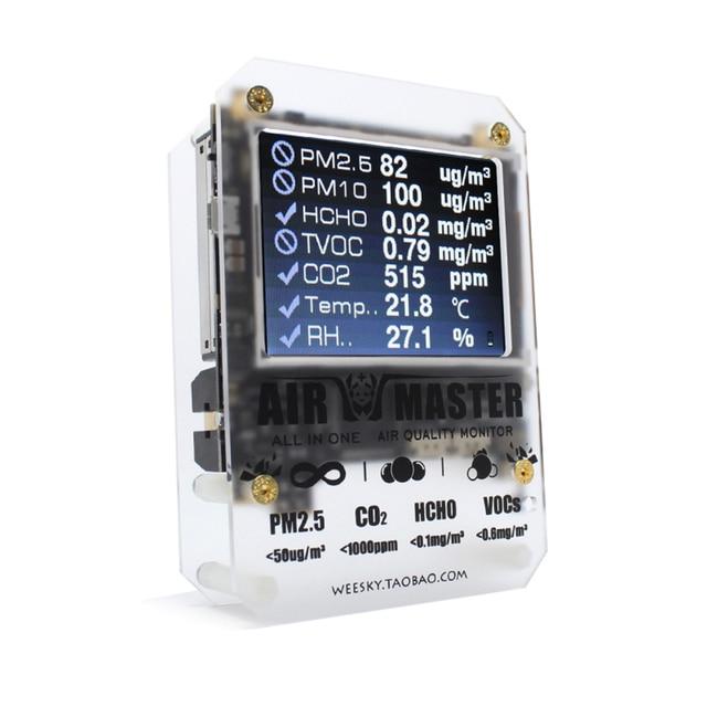 جهاز قياس CO2 للكشف عن جودة الهواء KKMOON AM7p HCHO جهاز استشعار CO2 جهاز استشعار Pm2.5 مقياس co2 للظروف المنزلية