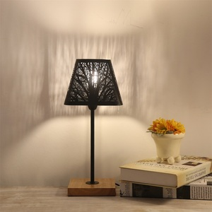 Image 4 - OYGROUP Moderne Kleine Nacht Lampe mit Holz Basis Schwarz Metall Stick und Hohl Lampenschirm E14 Tisch Lampe Raum Dekoration KEINE BIRNE