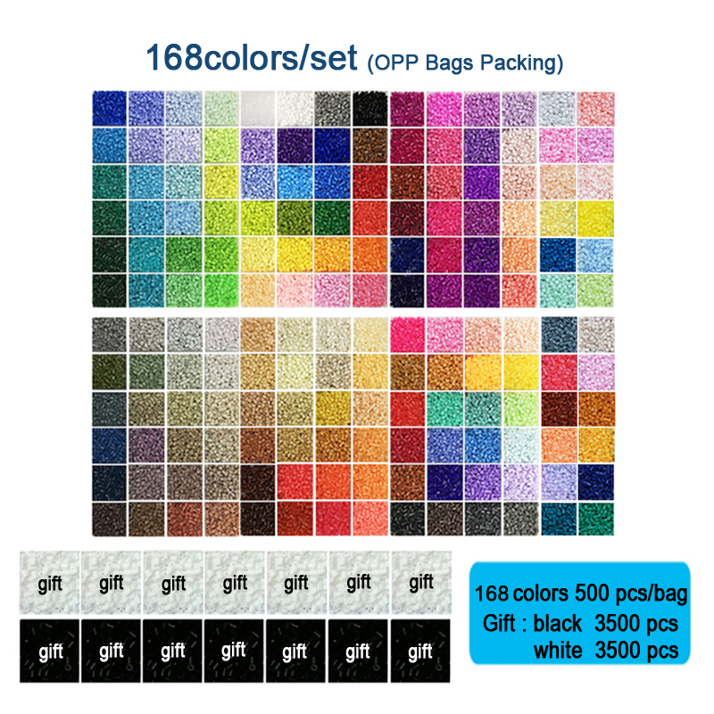 168 cores/conjunto yantjouet 2.6mm eva mini contas kit presente preto/branco 3500 pçs hama contas fusíveis diy quebra-cabeças contas de ferro