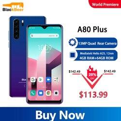 Blackview A80 Plus 6,49 дюйм4G мобильный телефон Helio A25 Android 10,0 мобильный телефон 4 Гб 64 Гб восьмиядерный смартфон 13 МП Sony камера 4680 мАч