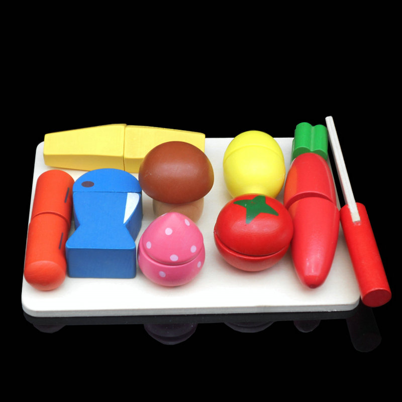Classic Kitchen Toys Set Wooden Simulation Fruits/Vegetables scale models Kids Toy Arts & Crafts DIY toys game Free shipping