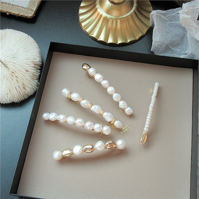Korea Baroque Pearl Hairpin Simple Exquisite Natural Pearl Handmade Spring Clips Temperament Sweet Girl Women Hair Accessories