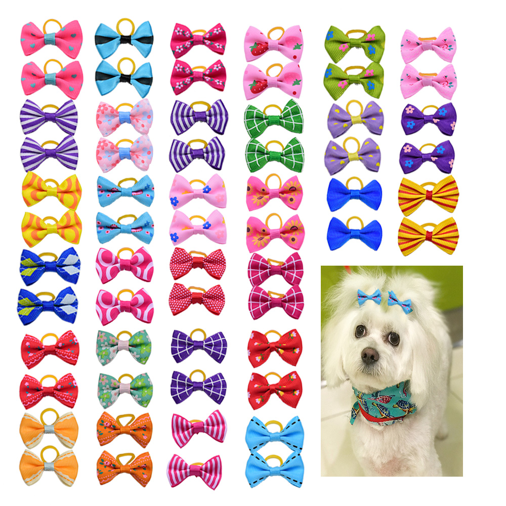 10 20 30pcs Dog Grooming Bows mix 30colours Cat dog Hair Bows Small Pog Grooming Accessories