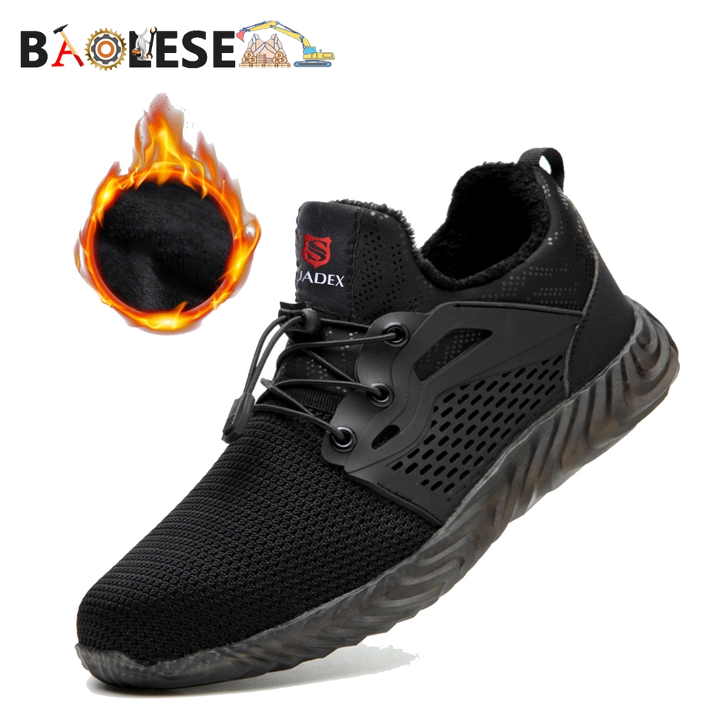 BAOLESEM Man Safety Shoes Winter Men Work Shoes Male Steel Cap Toe Working Safety Protection Boots Warming Fur Winter Work Boots