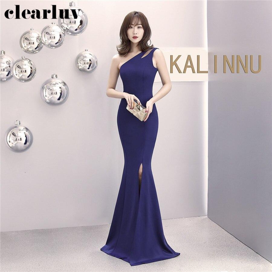 Stylish Prom Dress Long Backless Robe De Soiree DX341-5 Plus Size One-Shoulder Formal Dress 2020 New Split Mermaid Evening Dress