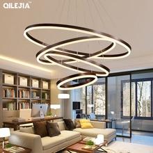 מודרני נברשת לסלון מוברש קפה עגול טבעות ב קפה LED נברשת לסלון השעיה מנורה קבועה