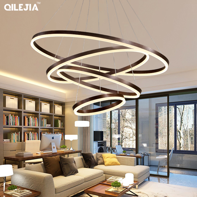 Modern chandelier for living room Brushed Coffee Circular Rings In Coffee LED Chandelier for Living Room Suspension Lamp Fixture
