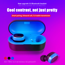 A9 Wireless Bluetooth 5.0 Stereo Headset In-Ear Earphone With Charging Bin Red Blue Black Bluetooth headset in ear fashion red line stereo headset e01 black ут000009820
