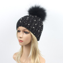 цены Wool Beanies Women Real Fur Pom Poms Fashion Knitted Hat Girls Female Beanie Cap Pompom Winter Hat for Women